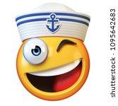 sailor hat emoji isolated on... | Shutterstock . vector #1095642683