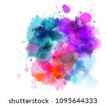 multicolored watercolor splash... | Shutterstock . vector #1095644333