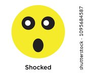 shocked icon isolated on white... | Shutterstock .eps vector #1095684587