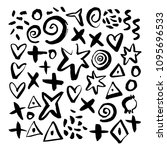 hand drawn abstract elements.... | Shutterstock .eps vector #1095696533