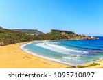 landscape with a golden bay ... | Shutterstock . vector #1095710897