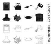 kitchen equipment black outline ... | Shutterstock .eps vector #1095718097