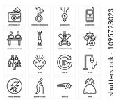 set of 16 simple editable icons ... | Shutterstock .eps vector #1095723023