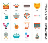 set of 16 simple editable icons ... | Shutterstock .eps vector #1095725063