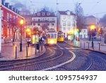famous vintage yellow 28 tram... | Shutterstock . vector #1095754937