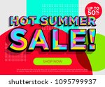 hot summer sale vector banner.... | Shutterstock .eps vector #1095799937