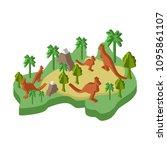 australia map animal isometric... | Shutterstock .eps vector #1095861107