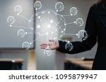 hand of businesswoman in... | Shutterstock . vector #1095879947