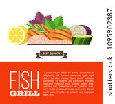 grilled fish. delicious grilled ... | Shutterstock .eps vector #1095902387