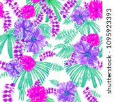 pastel tropical pattern... | Shutterstock . vector #1095923393