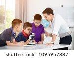 cheerful male teacher...   Shutterstock . vector #1095957887