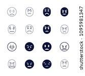 unhappy icon. collection of 16...   Shutterstock .eps vector #1095981347