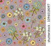 seamless pattern with flowers ... | Shutterstock .eps vector #1096018097