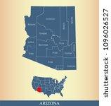 arizona county map vector... | Shutterstock .eps vector #1096026527