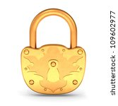 Gold Padlock Isolated On The...
