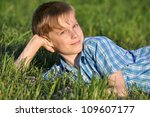happy boy in the summer against ... | Shutterstock . vector #109607177