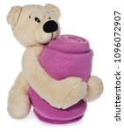 Small photo of Bright Plush Teddy Bear holding pink baby blanket. A mascot isolated on a white background with light shadow and reflection.