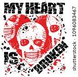 skull with heart  grunge...   Shutterstock .eps vector #1096083467