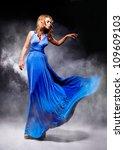 elegant girl in fluttering blue ... | Shutterstock . vector #109609103