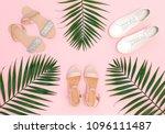 summer women's shoes. pink...   Shutterstock . vector #1096111487