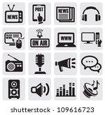 vector black media icons set on ...   Shutterstock .eps vector #109616723