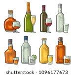 set glass and bottle whiskey ... | Shutterstock .eps vector #1096177673
