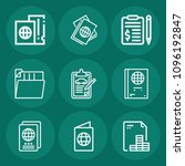 set of 9 document outline icons ... | Shutterstock .eps vector #1096192847