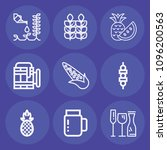 set of 9 food outline icons... | Shutterstock .eps vector #1096200563