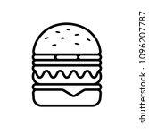 burger logo and line hamburger...   Shutterstock . vector #1096207787