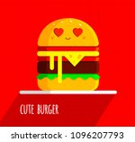 cute burger with feeling in...   Shutterstock . vector #1096207793