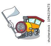 with flag train mascot cartoon... | Shutterstock .eps vector #1096219673