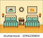bedroom interior. hotel room... | Shutterstock .eps vector #1096230803