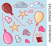set of cartoon stickers  badges ...   Shutterstock .eps vector #1096267163