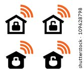 Open and closed home wireless network icons - stock vector