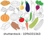 vegetables. coloring... | Shutterstock .eps vector #1096331363