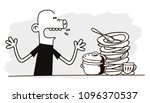 man looks at dirty dishes.... | Shutterstock .eps vector #1096370537