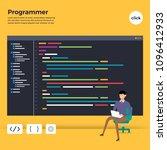 flat design concept programmer... | Shutterstock .eps vector #1096412933