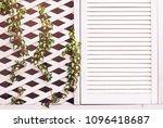 wooden trellis facade wall with ...   Shutterstock . vector #1096418687