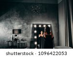 beautiful elegant brunette in a ... | Shutterstock . vector #1096422053