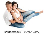 happy young couple in casual... | Shutterstock . vector #109642397