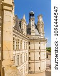 Small photo of CASTLE CHAMBORD, FRANCE - JUL 16, 2015: facade of the donjon (1519-1547), supposedly designed by Leonardo da Vinci