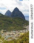Soufriere And The Pitons On Th...