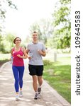 couple jogging in the park | Shutterstock . vector #109645583