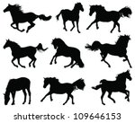 Silhouettes Of Horses 2  Vector