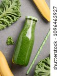 fresh green smoothie with kale... | Shutterstock . vector #1096463927