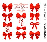 red bow set. cartoon vector red ... | Shutterstock .eps vector #1096474343