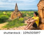 admiring the kingdom of bagan... | Shutterstock . vector #1096505897