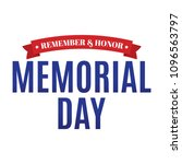 happy memorial day vector text... | Shutterstock .eps vector #1096563797