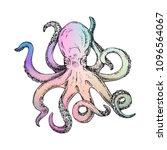 rainbow octopus vector... | Shutterstock .eps vector #1096564067