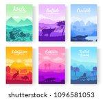 australian animals in the... | Shutterstock .eps vector #1096581053